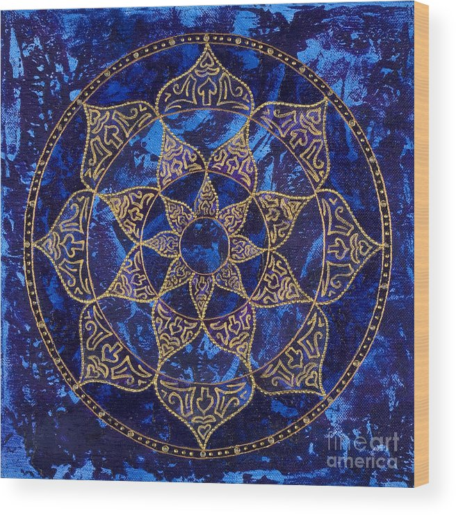 Mandala Wood Print featuring the painting Cosmic Blue Lotus by Charlotte Backman