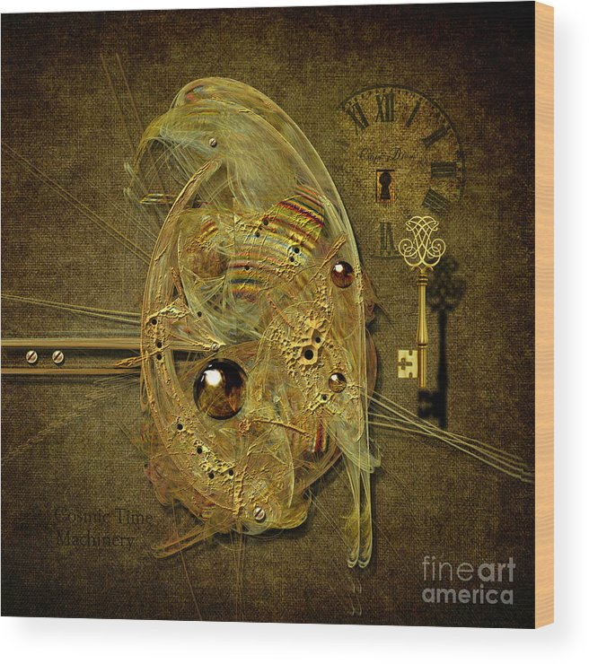 Key Wood Print featuring the digital art Cosmic Time Egg by Alexa Szlavics