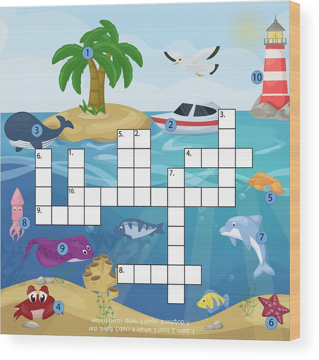 graphic about Star Magazine Crossword Puzzles Printable titled Crossword Small children Journal E book Puzzle Sport Of Sea Underwater Ocean Fish And Pets Sensible Worksheet Vibrant Printable Vector Instance. Wooden Print