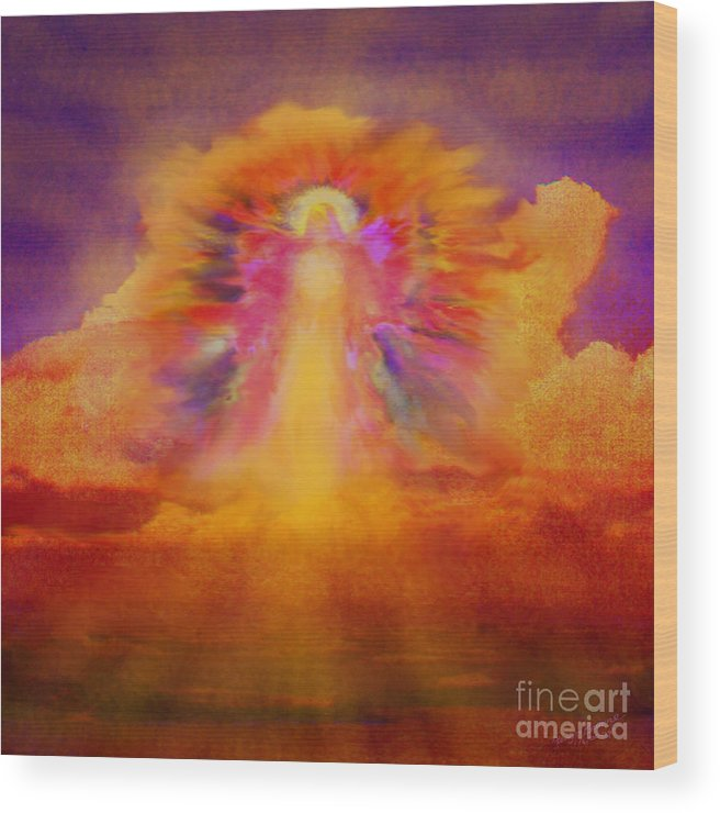 Angel Wood Print featuring the painting Dawn Sentinal by Glenyss Bourne