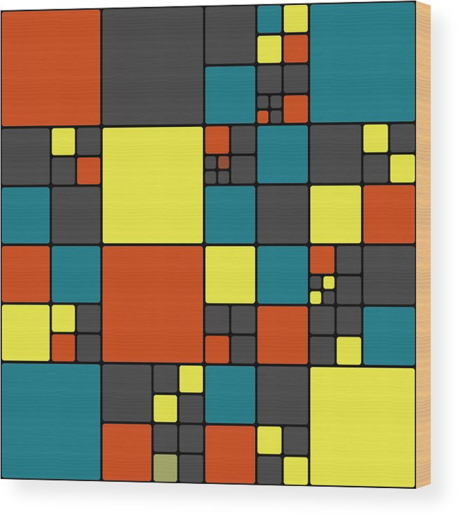 Abstract Wood Print featuring the digital art Dio - 55-01a by Variance Collections