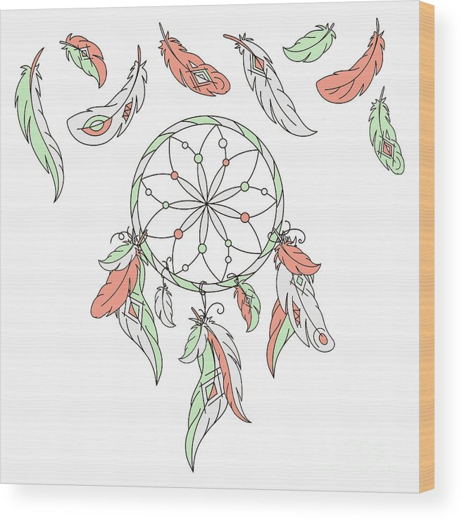 Magic Wood Print featuring the digital art Dreamcatcher, Feathers. Vector by Laata9