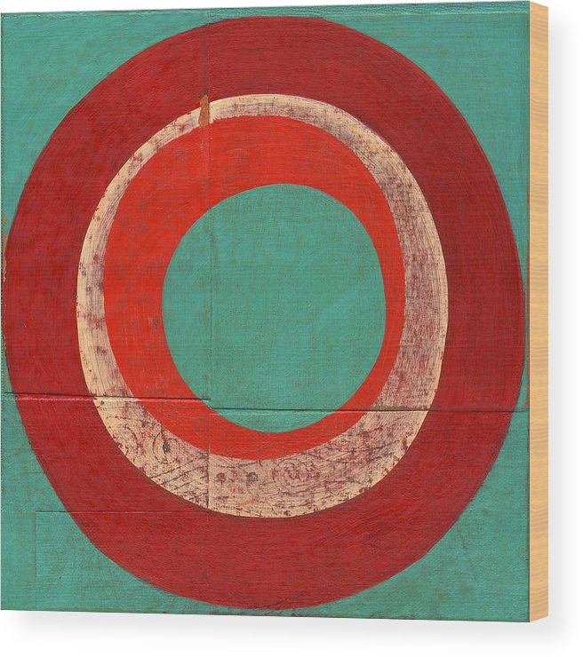 Circles Wood Print featuring the painting Drunk Circles Five by Laura Nugent