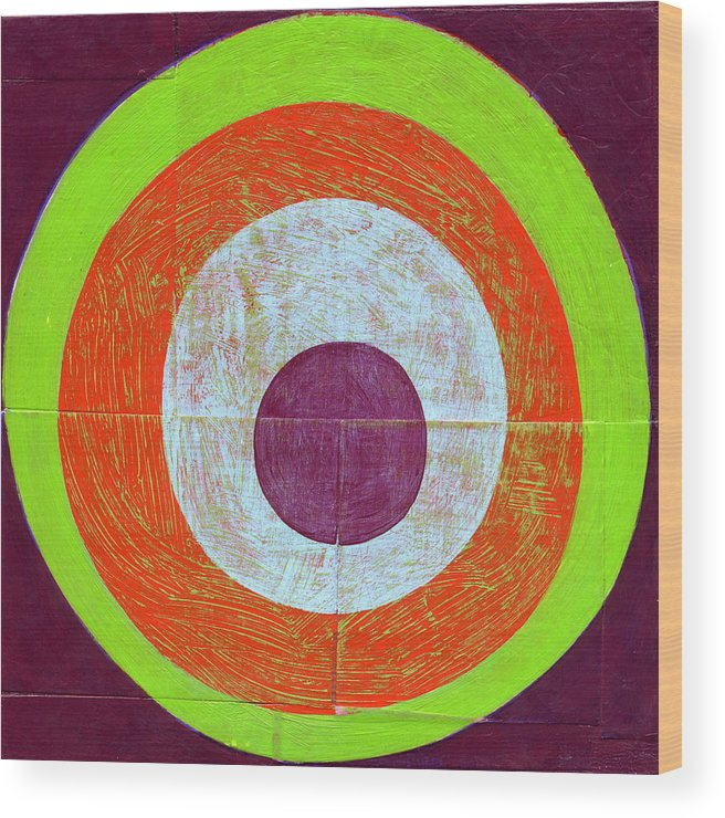 Circles Wood Print featuring the painting Drunk Circles Seven by Laura Nugent