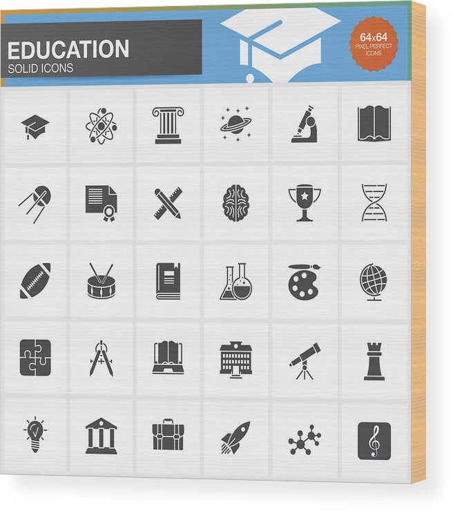 Education Vector Icons Set, Modern Solid Symbol Collection, School  Pictogram Pack Isolated On White, Pixel Perfect Logo Illustration Wood Print