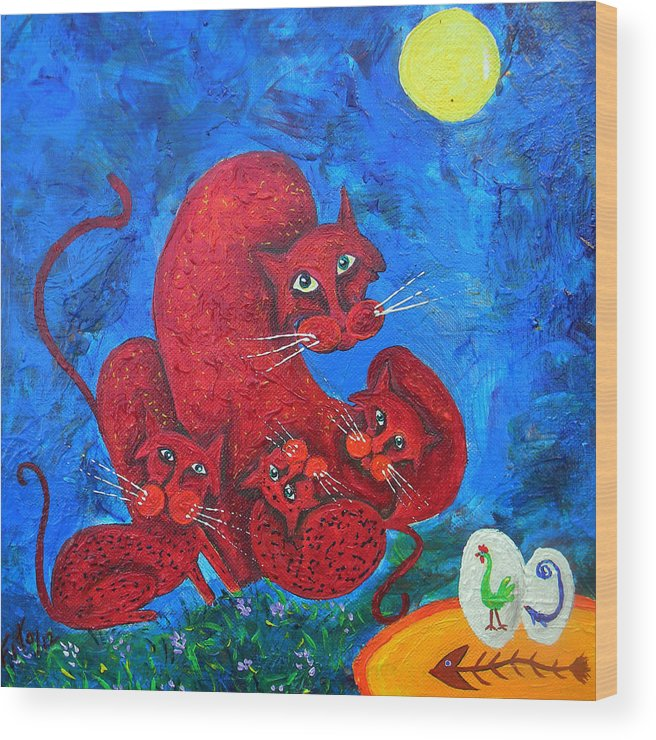 Cats Wood Print featuring the painting Family Cat by Adolfo Flores