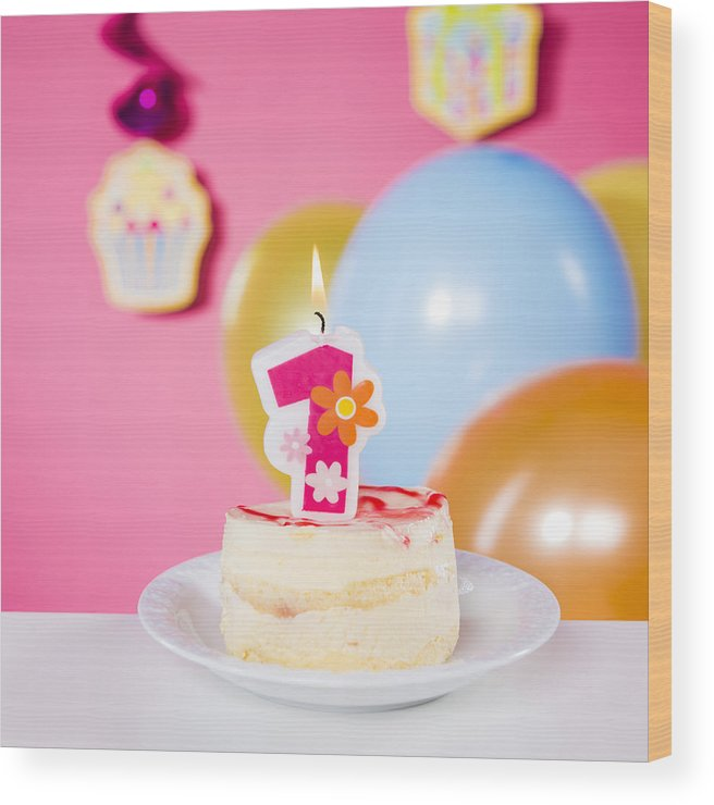 Event Wood Print Featuring The Photograph First Birthday Cake With One Candle On Table