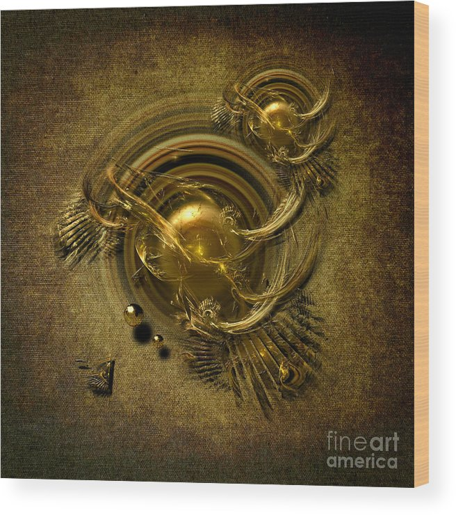 Abstract Wood Print featuring the digital art Gold Birds by Alexa Szlavics