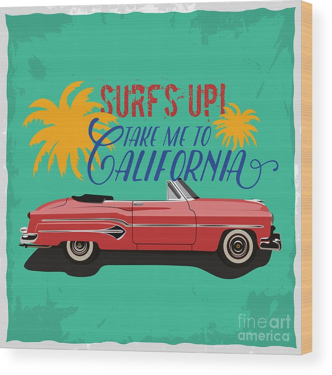 Bus Wood Print featuring the digital art Hand Drawn Retro Car With A Text Take by Heather insane