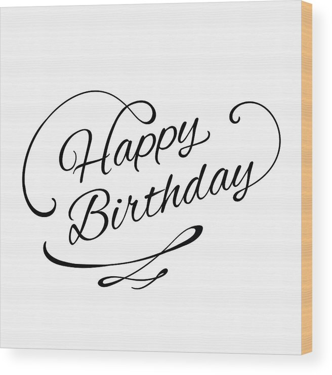 Happy Birthday Greeting Card Design Wood Print