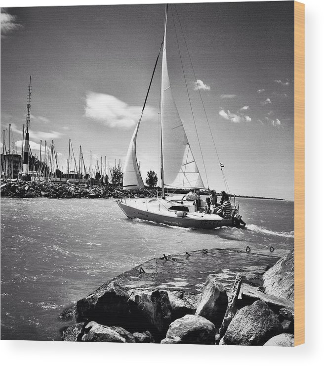 Sky Wood Print featuring the photograph Hard Sailing by Jozsef Torsan