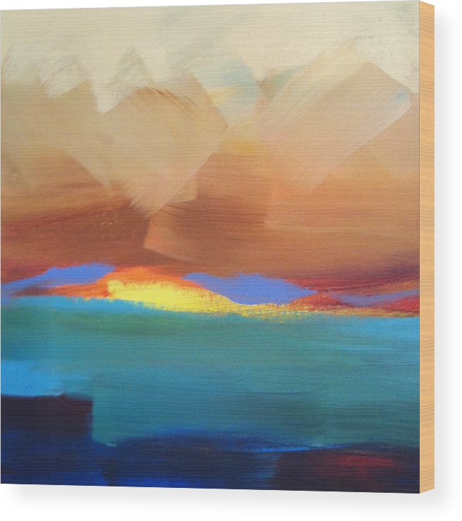 Sunset Wood Print featuring the painting Hawaiian Glory by Christine Brinson