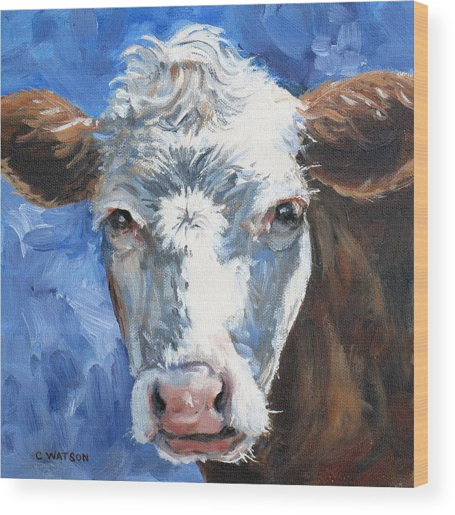 Cow Wood Print featuring the painting Hello Cow by Carolyn Watson