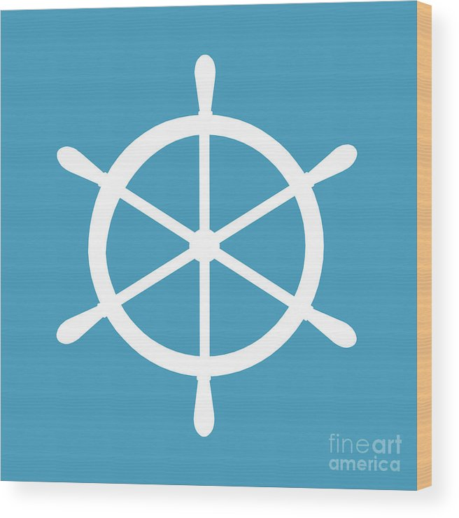 Graphic Art Wood Print featuring the digital art Helm In White And Turquoise Blue by Jackie Farnsworth