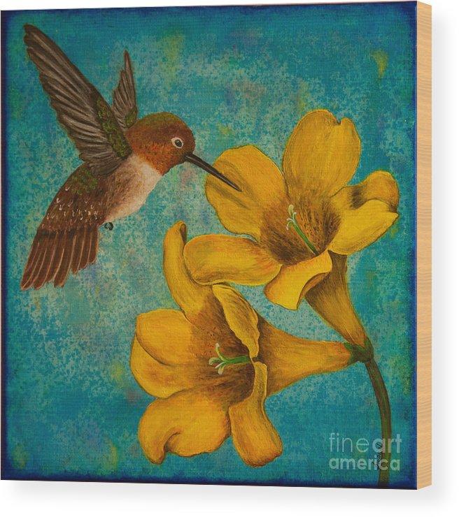 Bird Wood Print featuring the painting Hummingbird With Yellow Jasmine by Susan Cliett