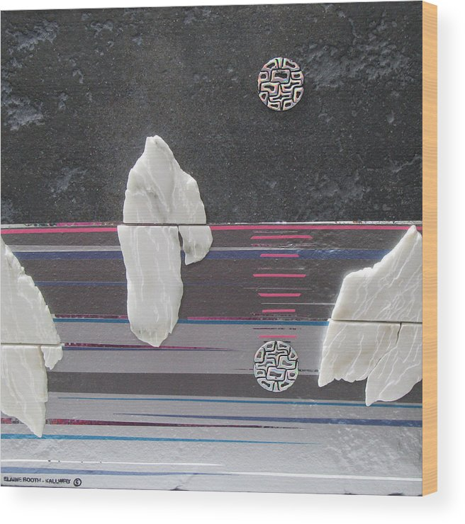 Assemblage Wood Print featuring the mixed media Ice Bergs by Elaine Booth-Kallweit