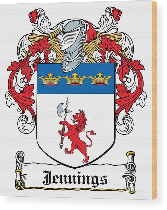 Jennings Wood Print featuring the photograph Jennings Coat Of Arms I Irish by Heraldry