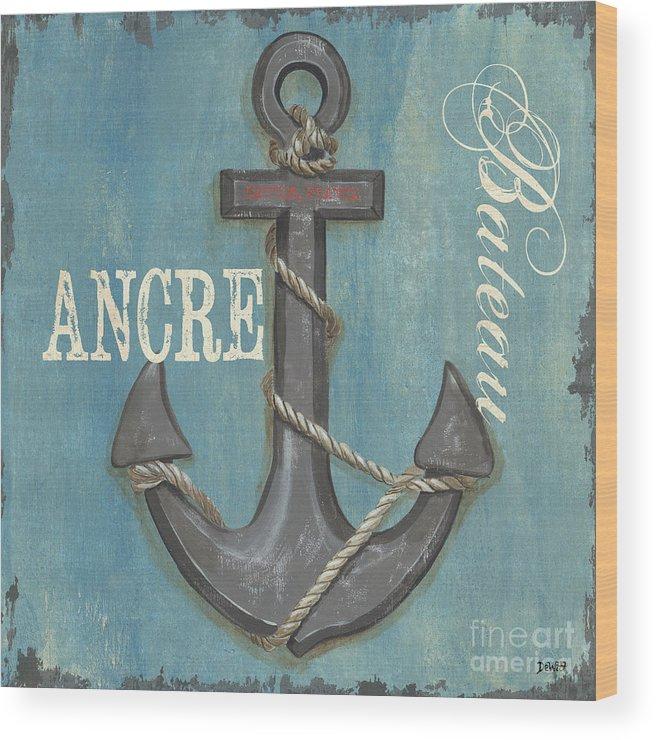 Coastal Wood Print featuring the painting La Mer Ancre by Debbie DeWitt