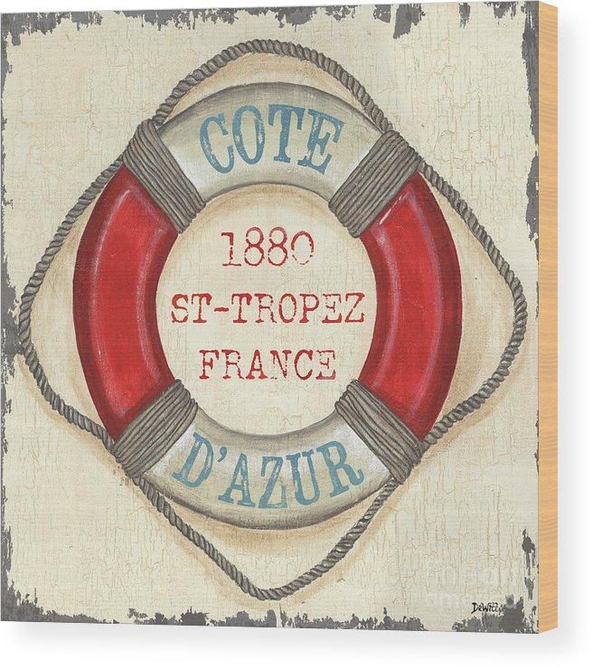 Coastal Wood Print featuring the painting La Mer Cote D'azur by Debbie DeWitt