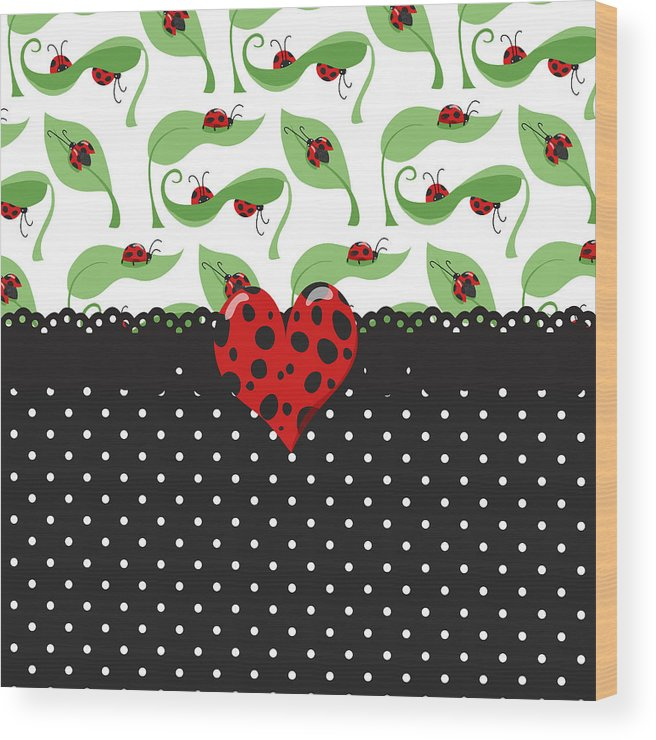 Heart Wood Print featuring the digital art Ladybug Special by Debra Miller