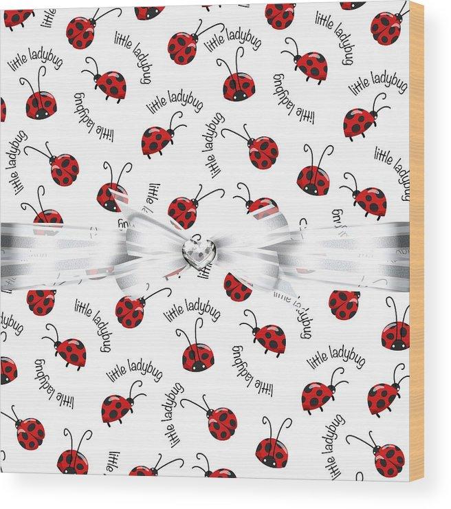 White Ribbon Wood Print featuring the digital art Little Ladybug Treats by Debra Miller