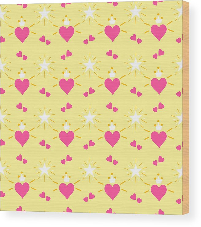 Crown Wood Print featuring the drawing Little Princess Pattern Vector. Print Hearts With Wings And
