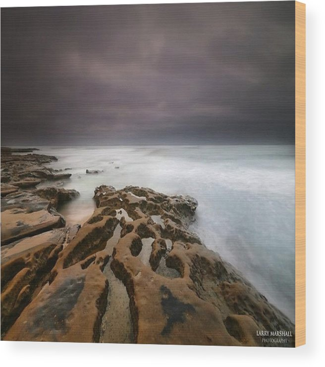 Wood Print featuring the photograph Long Exposure Sunset On A Dark Stormy by Larry Marshall