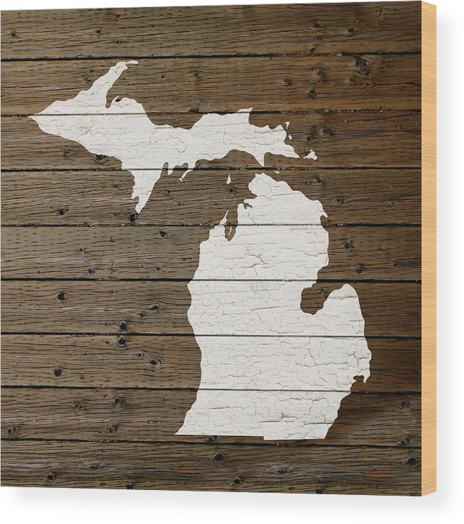 Map Of Michigan State Outline White Distressed Paint On Reclaimed Wood  Planks Wood Print