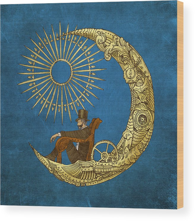 Blue Wood Print featuring the digital art Moon Travel by Eric Fan