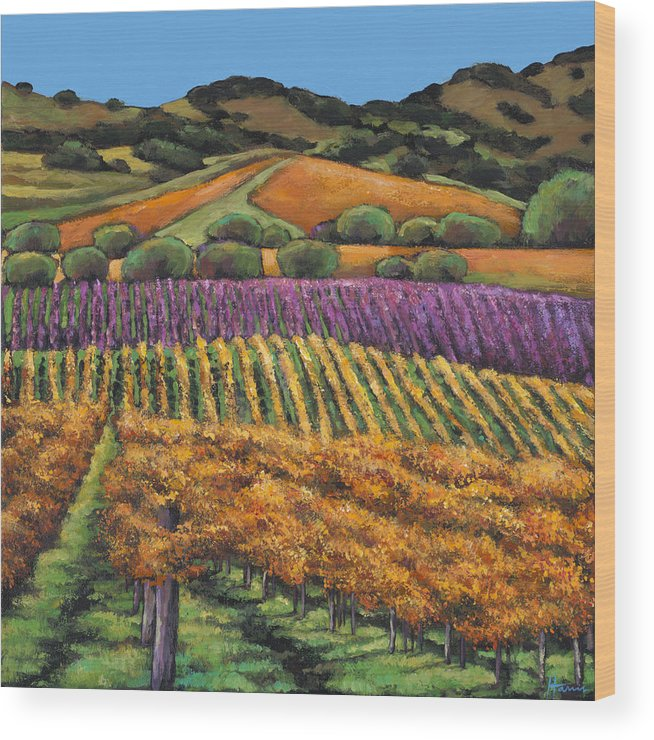 Landscape Wood Print featuring the painting Napa by Johnathan Harris