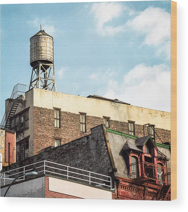 Water Tower Wood Print featuring the photograph New York City Water Tower 2 by Gary Heller
