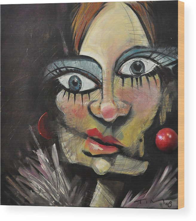 Woman Wood Print featuring the painting Nip And Tuck Version Two by Tim Nyberg