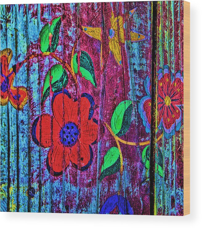 Taos Wood Print featuring the photograph Painted Table by Diana Powell