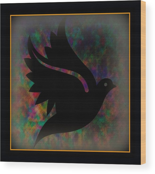 Peace Wood Print featuring the mixed media Peace Series Xii by Wendie Busig-Kohn