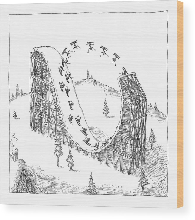 Skiing Wood Print featuring the drawing People Ski On A Circular Ski Ramp That Resembles by John O'Brien