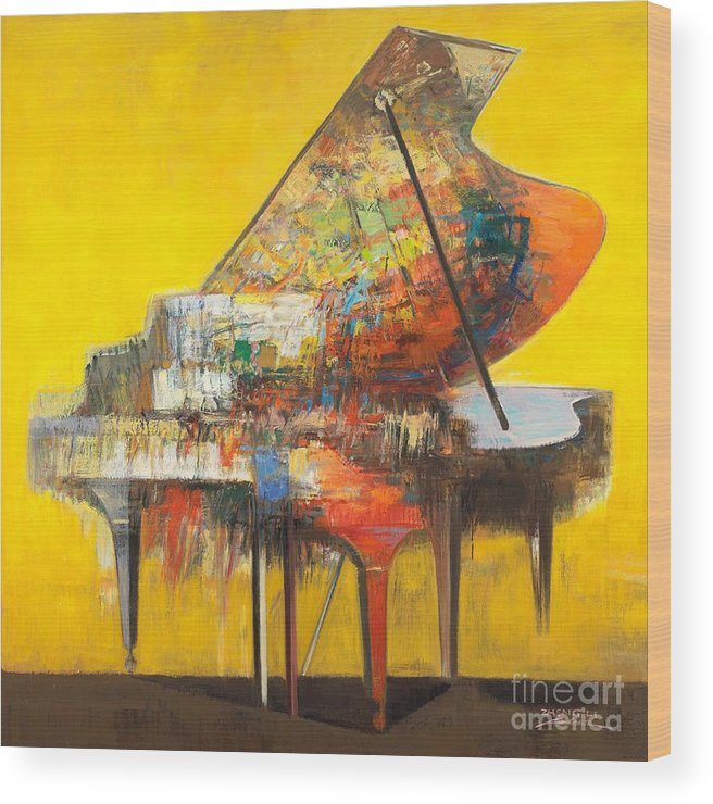 Piano.piano Wood Print featuring the painting piano No.19 by Zheng Li
