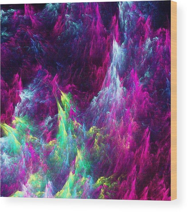 Abstract Wood Print featuring the digital art Planet Ocean by Anastasiya Malakhova