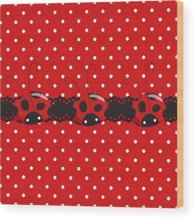 Polka Dots Wood Print featuring the digital art Polka Dot Lady Bugs Graphics By Kika Esteves With Custom Coordinated Design Crafted By D Miller. by Debra Miller
