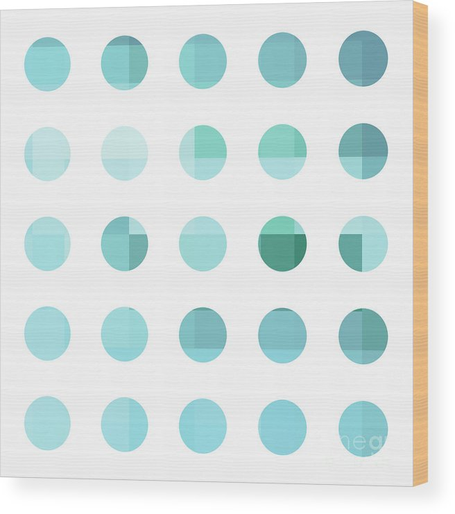 Abstract Wood Print featuring the painting Rainbow Dots Aqua by Pixel Chimp