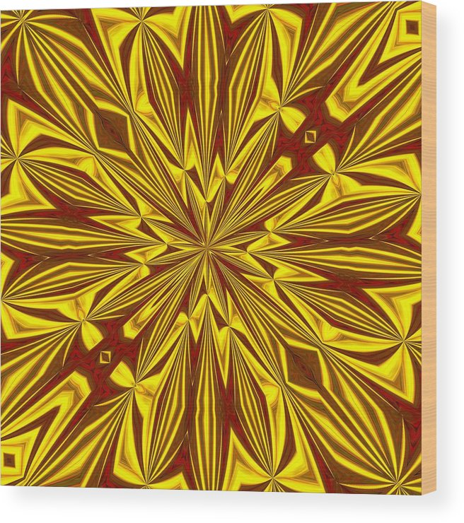 Christmas Wood Print featuring the digital art Red And Gold Christmas Kaleidescope by Taiche Acrylic Art