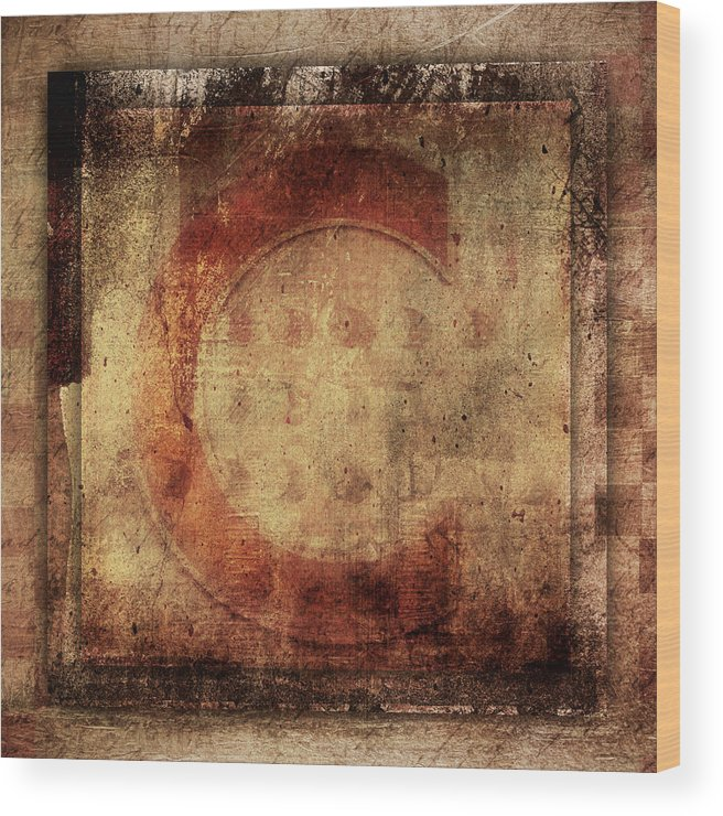 Letter Wood Print featuring the photograph Red C Squares by Carol Leigh