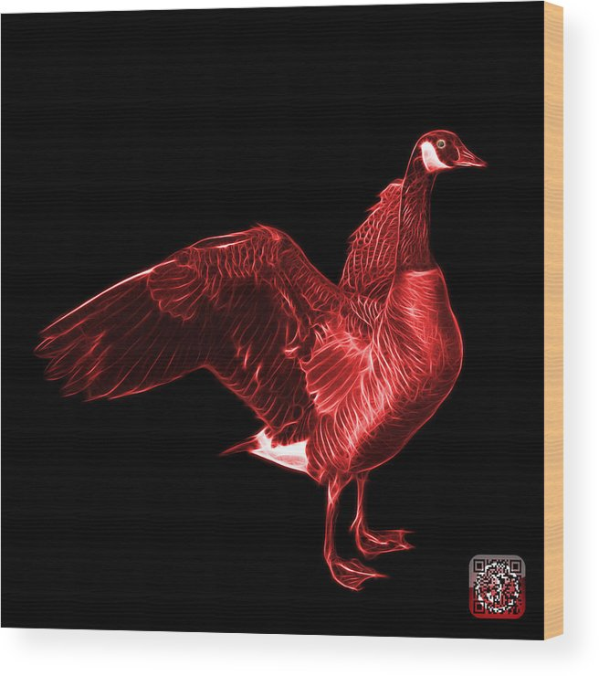 Canada Goose Wood Print featuring the mixed media Red Canada Goose Pop Art - 7585 - Bb by James Ahn