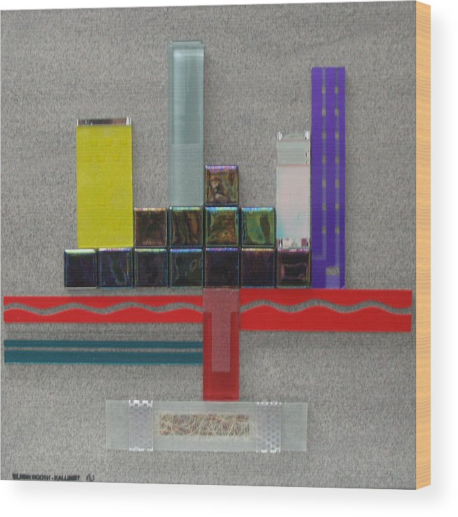 Assemblage Wood Print featuring the relief Red River City by Elaine Booth-Kallweit