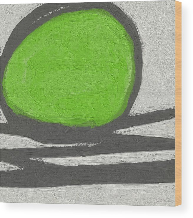 Abstract Wood Print featuring the painting Seed by Linda Woods