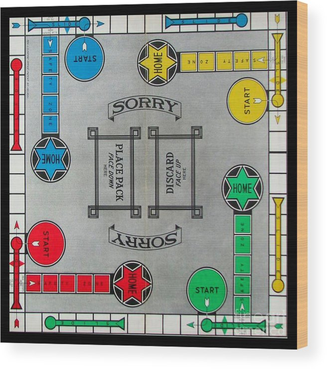 Sorry Board Game Wood Print By Steven Parker