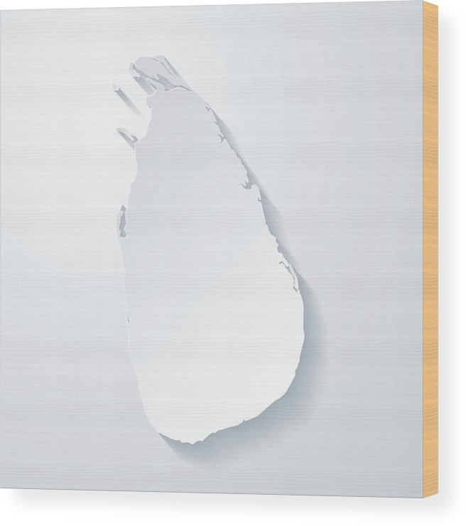 Sri Lanka Map With Paper Cut Effect On Blank Background Wood Print