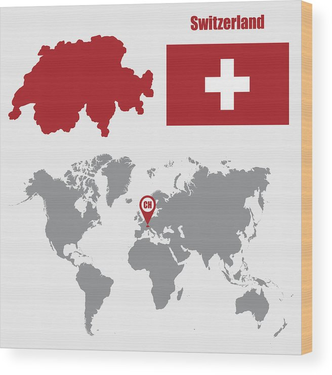 Switzerland Map On A World Map With Flag And Map Pointer Vector