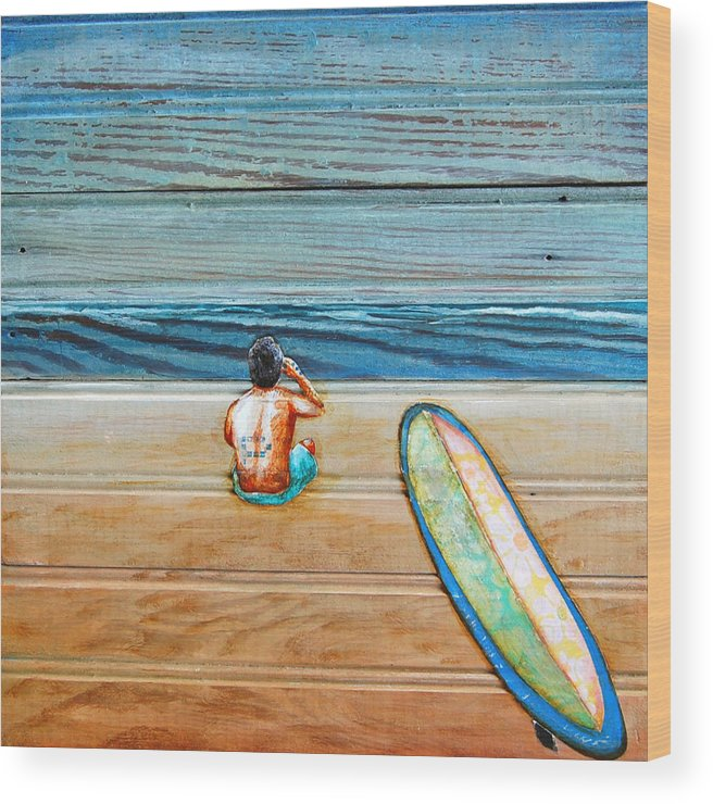 Surfboard Wood Print featuring the painting The Great Beyond by Danny Phillips