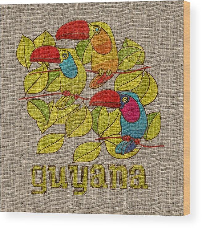 Guyana Wood Print featuring the digital art Toucan by Mark Khan