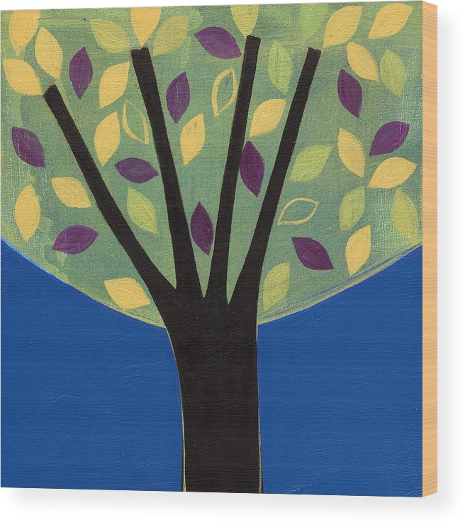 Tree Wood Print featuring the painting Tree In Blue by Laura Nugent